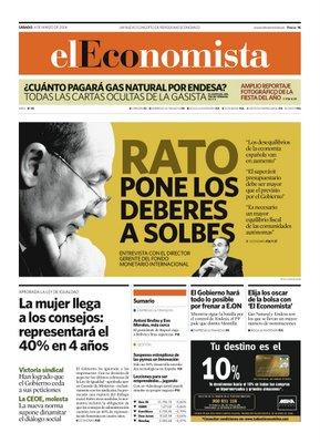 Portada de El Economista ganadora del Premio a la mejor portada en los ÑH3