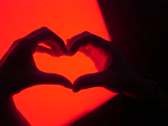 Love is a verb, a doing word (ina andr *) Tags: light red orange black color rot love luz lamp luces rojo hands colorful heart handmade amor mano lampara shape liebe corazon