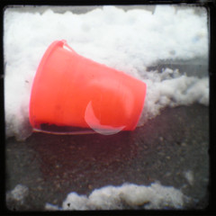 Broken Orange Pail (Mixxie Sixty Seven) Tags: street winter orange snow trash catchycolors toy toys bucket junk pavement slush litter plastic february pail playthings ttv veiwfinder throughtheviewfinder discardedtoys thecolororange discardedplaythings