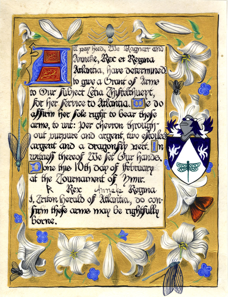 Grant of Arms for Letia Thisteltheuyt. This scroll is based on the Prime from the Hastings Hours.