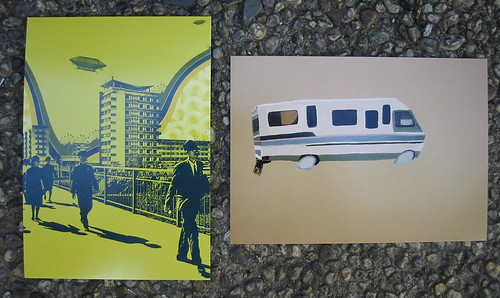 Garage Gallery postcards for Jon Setzen (L) and Alika Cooper (R)