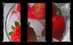 strawberries (Magda'70) Tags: red black macro nikon adobephotoshop framed background strawberries manipulation ps frame framing d200 framework tri blackand tryptych framin
