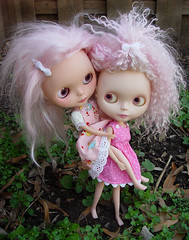 Enid and Mabel (Ragazza*) Tags: doll mabel mohair airbrush paravion enid customblythe awonderfultreat blythestudio pinkspookysisters