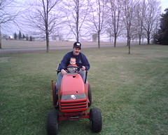 Micah on the tractor