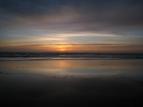 Sun Set On Ocean Beach