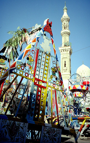 egypt travel backpacking alexandria ride amusement kids children ramadan mosque minaret