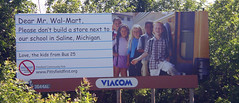 Billboard Protests Wal-Mart near school, on US...
