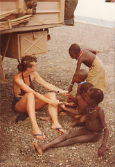 El Molo Tribe  children   Alison Hutton at Lake Turkana 1979 (Robin Hutton) Tags: africa lake girl robin children education desert native kenya african poor east bikini historical tribe hutton alison isolated duff nomads primative nomadic turkana anthropological kaburus elmolo roudolf giraudsaunders blackribbonicon robinhuttonart