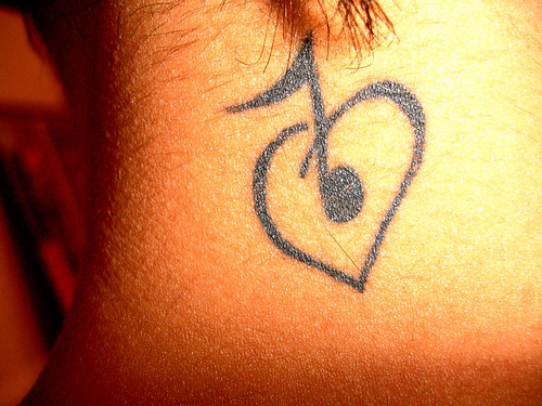 musical tattooed on back of the neck