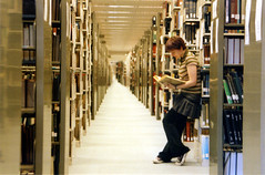 mandy and the long line of books (world_of_noise) Tags: mandy books infinity color uofo pentaxmesuper library