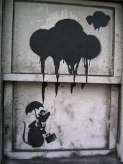 banksy rat & clouds (squeezemonkey) Tags: street london window clouds umbrella graffiti rat banksy art|