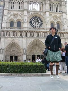 Klara levitating by Notre Dame