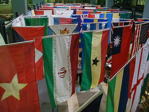 Hanging international flags
