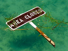 Off Limits (Sully Pixel) Tags: ocean seaweed green water sign keywest reef popular drytortugas