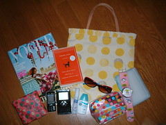 Summer-y WhatsInMyBag (highglosshighs) Tags: 2005 summer june yellow japan bag vogue  toyama whatsinyourbag whatsinmybag fukumitsu