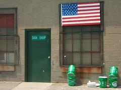 sign_shop_flag (tatslow) Tags: sign shop belmont dpw flag jasperjohns homage 5gallon buckets