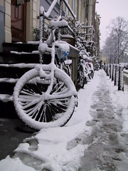 Bicycle in Amsterdam (dumell) Tags: winter white snow cold holland amsterdam weather bicycle stock cycle
