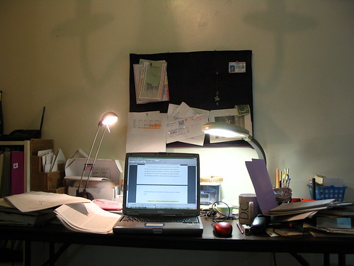 my desk at home while i am writing disse by .snow, on Flickr