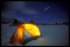 Winter Camp, Mono Lake (Buck Forester) Tags: california longexposure camping winter nature landscape tent velvia nighttime wilderness monolake tufa startrails nationalgeographic gadling buckforester tufatowers brianernst buckforrester