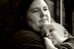 Anjanette and Jack (.brian) Tags: mother child kid portrait woman baby blackandwhite brooklyn