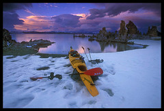 Kayak and Sunset, Mono Lake (Buck Forester) Tags: winter sunset snow film kayak velvia kayaking monolake paddling kodiak wildwasser prijon buckforester tufatowers brianernst paddlingmonolake kayakingmonolake monolakekayaking