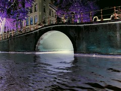(josef.stuefer) Tags: bridge reflection water netherlands amsterdam canal glow purple explore negative inverted josefstuefer