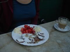 Mmm, poffertjes (and breasts) (buckofive) Tags: sexyswedishbabe ssb poffertjes breasts foodporn strawberries whippedcream coffee koffieverkeerd