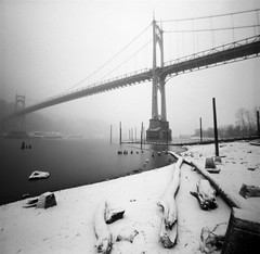 St Johns Bridge, snow, 45 seconds (Zeb Andrews) Tags: bridge winter bw usa snow film beautiful oregon wow wonderful square portland frozen amazing cool nice awesome great bridges pinhole excellent pacificnorthwest magnificent zeroimage fujineopan100acros tacomaartmuseum zero66 bluemooncamera zebandrews zebandrewsphotography