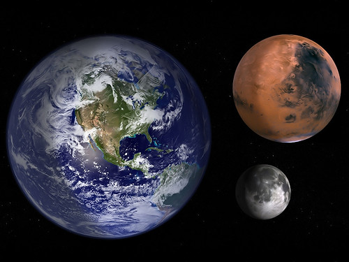 Earth Mars and Moon to scale