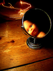 mirror (mohawk) Tags: street wood light copyright baby blur art love glass lamp look angel liverpool lights mirror see photo doll photographer arte distorted kunst grain s sean trail reflect shaving surprise mohawk 2009 wirral magie veiw magia     limbert mgica magisch gloomyheart  anglepiose    0x63310e
