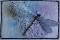 dragonfly-800 (sharonb) Tags: needlework dragonfly embroidery postcard fabric textiles fiber stumpwork fabricpostcard