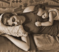 Madonna of the Dreams and Baby Jesus getting some ZZZzzzZZZzzZZzz's (AnnuskA  - AnnA Theodora) Tags: family sleeping topf25 sepia sweet manuela motherandchild victorhugo zzzzzzzzzzzzzzzzzzzz abigfave lovelymoments aplusphoto mysisterandherson favemegroup3