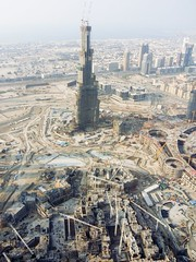 Aerial View of Burj Dubai (now Burj Khalifa) and the Mall underneath (calajava) Tags: urban geotagged construction dubai uae 2006 aerial helicopter shoppingmall unitedarabemirates aerialphotography aero aerophotography burjdubai  skyscapper superhighrisebuilding     burjkhalifa