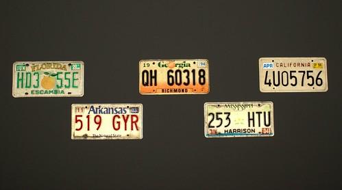 licence plates in dark