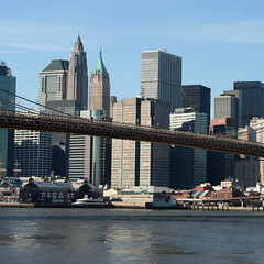 Brooklyn Bridge & Manhattan (Turkinator) Tags: city nyc bridge newyork brooklyn downtown manhattan brooklynbridge eastriver pier17