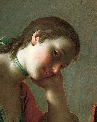Pietro Rotari, Young Girl Writing a Love Letter (detail) 1755