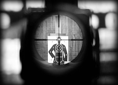Head Shot | Looking Through a Scope on a Gun (Todd Klassy) Tags: blackandwhite white black game eye wisconsin danger training soldier see video war gun kill shoot shot scope body head surveillance military rifle machine police optical competition security headshot gaming tournament telescope weapon sniper terror terrorism target murder violence videogame precision shooting hunter bullet aim targeting sight score protection wi tactics fbi nra lunette armedforces bodyguard bodyshot assassination firearm sighting optics investigation gunrange accuracy aiming stockphotography marksman humaneye targetshooting crosshair warefare takingaim throughthescope riflescope rangefinding riflesight