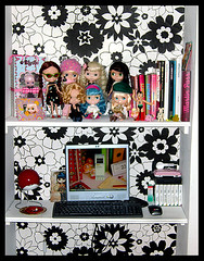 My Office (Hailey Kitten) Tags: family red white black vintage toys dolls apartment desk ds books kitsch games blythe funkywallpaper groupblythe