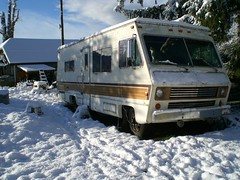 Old Motorhome In The Snow
