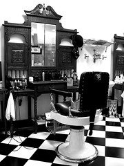 Barber Shop (Monochrome) (Craig Jewell Photography) Tags: old white haircut black monochrome leather comfortable contrast vintage hair groom mirror chair shiny cut retro clip grooming chrome barber era shave aged trim hairstyle trade polished greyscale hairstylist fashioned bygone cpj craigjewellphotography