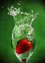 Splash! (LalliSig) Tags: motion water glass studio strawberry stop splash naturesfinest impressedbeauty
