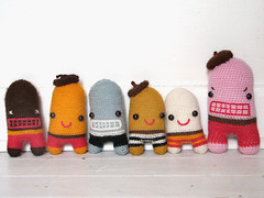 (sandra juto) Tags: pink blue brown white black wool alpaca animal yellow mouth toy happy stripes character crochet mini buttcrack softie angry beret asscrack bumcrack
