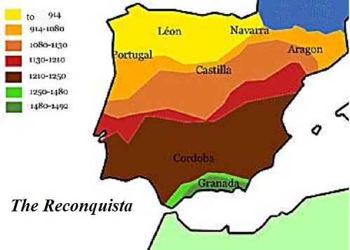Map of the Spanish Reconquista of the Iberian Peninsula, 914-1492