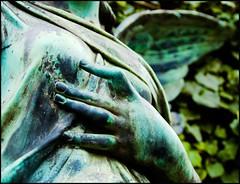 angel with heartache (POSITiv) Tags: friedhof berlin angel pain breast hand heart ange cemetary main wing coeur engel herz ache busen schmerz flgel brust cemetire