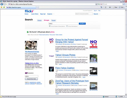 flickr groups search 'yahoo'