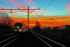 Dawn on railway station at 07:26 (henx fotojam) Tags: blue sky orange train sunrise dawn burning rijen impressedbeauty