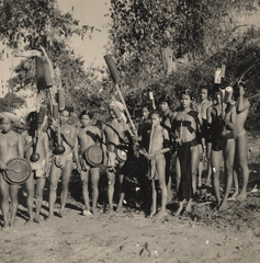 Mro men with traditional pipes, Bandarban, 1950-52 (Ina's Pics) Tags: people men angus hill group pipes musical instruments hume bangladesh indigenous mro chittagong tracts