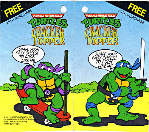 "NABISCO - ""EASY CHEESE"" :: 'TEENAGE MUTANT NINJA TURTLES' CRACKER TOPPER // .. tag i (( 1991 ))"