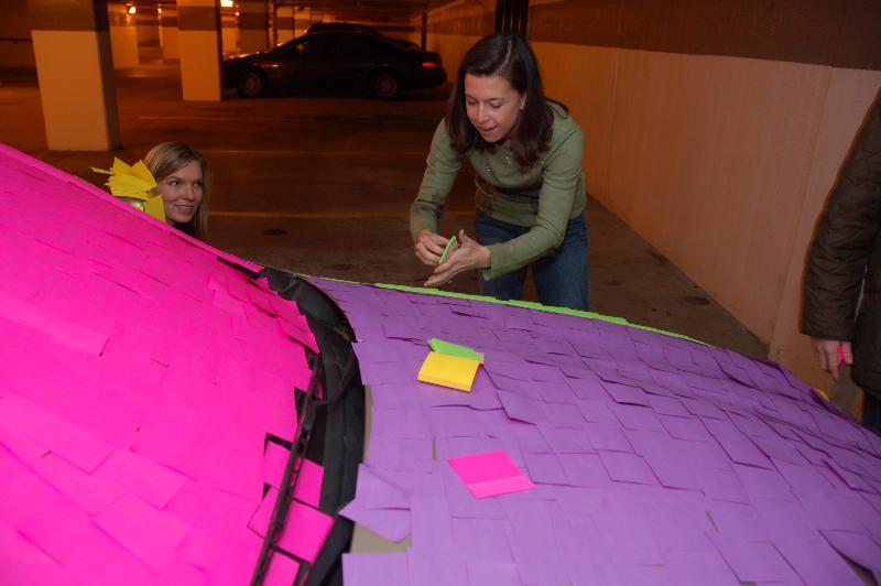 Jaguar Covered in Postit Notes