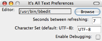 It's All Text! Firefox extension: preferences